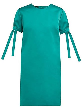 Rochas Tie Cuff Satin Mini Dress - Womens - Green