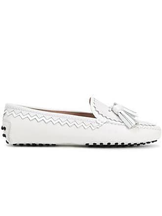 ce591d700 Tod's Tods Woman Tasseled Matte And Patent-leather Moccasins White Size 41.5