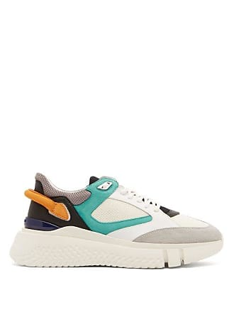 buy popular 35b6f e3dad Buscemi Veloce Low Top Leather, Mesh And Suede Trainers - Mens - White Multi