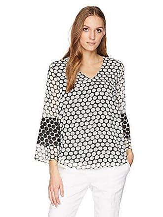 Calvin Klein Womens Long Sleeve V Neck with 2 Tier, Black/White dot, L