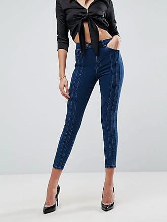 545763da36542 Asos ASOS - RIDLEY - Jean skinny taille haute à coutures triples - Bleu