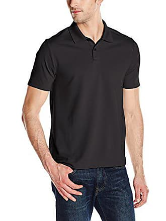 3038bdc54 Perry Ellis Mens Two Button Stripe Texture Polo, Black, Small