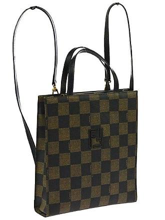5c6c3d77bab3 Fendi Monogram Canvas Black Green Logo Evening Top Handle Satchel Backpack  Bag