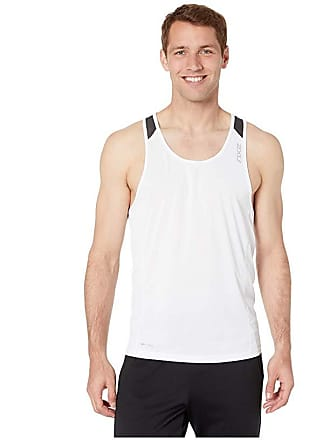 2XU XVENT Singlet (White/Charcoal) Mens Clothing