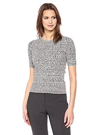 Theory Womens Short Sleeve Marl Rib Crewneck Sweater, Fatigue White, P