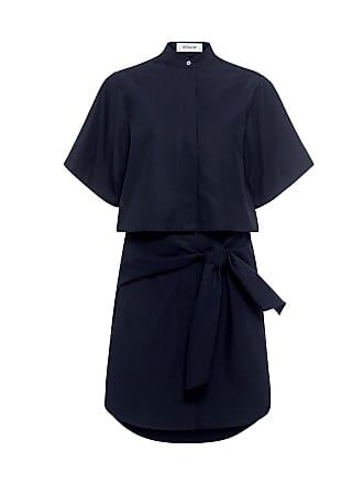 Derek Lam Tie Waist Button Down Shirt Dress Midnight