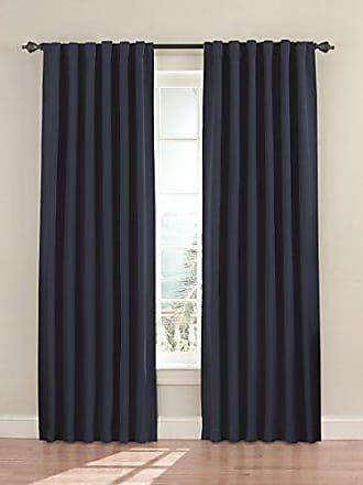 Eclipse Blackout Curtains for Bedroom - Fresno 52 x 84 Insulated Darkening Single Panel Rod Pocket Window Treatment Living Room, Dark Blue