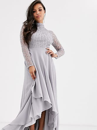 Asos Petite ASOS DESIGN Petite maxi dress with linear embellished bodice and wrap skirt-Multi