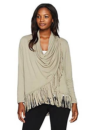 Ruby Rd. Womens Silky French Terry Cardigan with Closure and Fringe Hem, Sage Small
