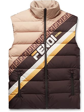 Fendi Logo-print Quilted Shell Down Gilet - Brown