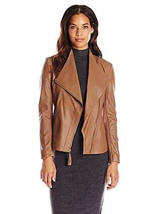 Via Spiga Womens Lightweight Leather Ponte Jacket, Beige Sand, Large