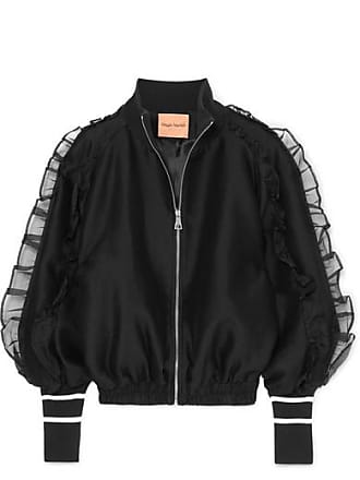Maggie Marilyn Some Kind Of Wonderful Silk Organza-trimmed Jersey Bomber Jacket - Black