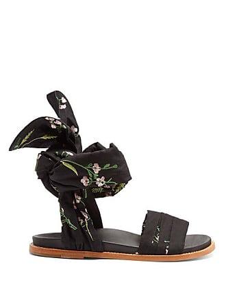 Marques Almeida Marquesalmeida - Floral Embroidered Wrap Sandals - Womens - Black Multi