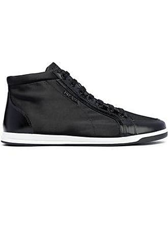 8576f7a2f26722 Prada Prada Woman Coated Leather-trimmed Shell Sneakers Black Size 36