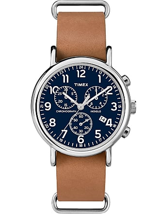 Timex Watch Unisex Weekender Chronograph 40MM Leather Strap Silver-Tone/tan/blue Item Tw2P62300Za