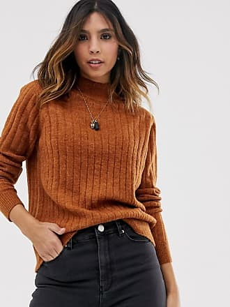 Y.A.S highneck brushed rib jumper in brown