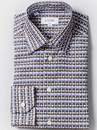 Eton Blaues, schmal geschnittenes Hemd mit geometrischem Muster - 17.5 - Blue/White