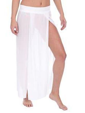 Lola Swimwear Falda de Tejido Mesh, con Aberturas y Pretina Ancha<br>Blanco