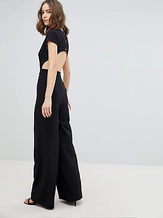 4b8eec5e3cee Asos Tall Plunge Neck Jumpsuit with Wide Leg and Open Back - Black