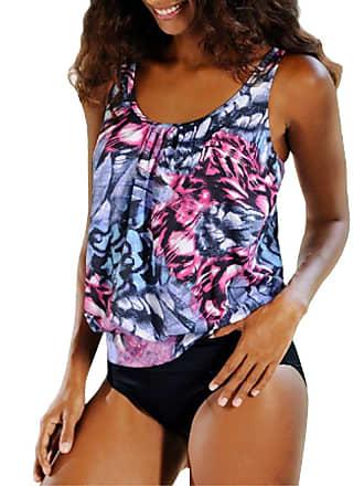 1c8c4ab9467bf Inlefen Women Two Piece Bikini Top Plus Size Printed Tankini Swimwear  Swimsuit Bathing Suit Purple 2XL