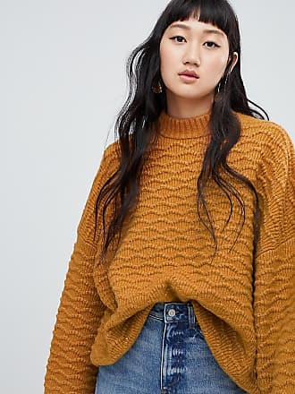 Weekday textured sweater in camel - Yellow