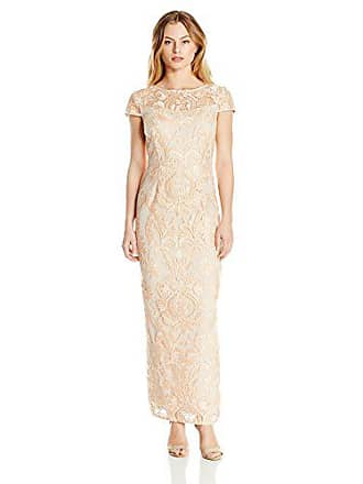 Alex Evenings Womens Cap Sleeve Embroidered Gown Dress (Petite and Regular Sizes), Gold, 14P