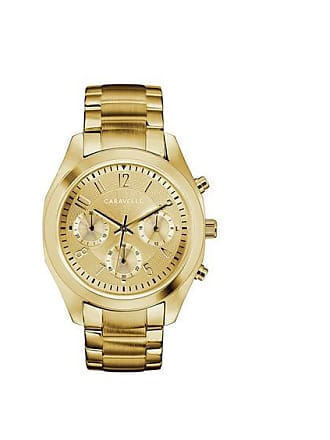Zales Ladies Caravelle by Bulova Chronograph Gold-Tone Watch with Champagne Dial (Model: 44L238)
