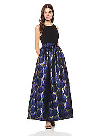 Nicole Miller Womens Sleeveless Gathered Waist Full Gown with V-Back, Black/Blue/Gold, 4