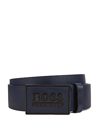 BOSS Embossed belt in smooth leather with logo plaque