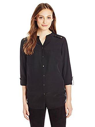 883ad58d07dca0 Notations Womens Long Sleeve Rolled to 3/4 Mandarin Collar Shirt, Black,  Small