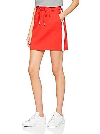 4bebd38545704f Only onlPOPTRASH Easy Skirt Falda, Rot (Flame Scarlet Detail:Cloud Dancer  Panel)