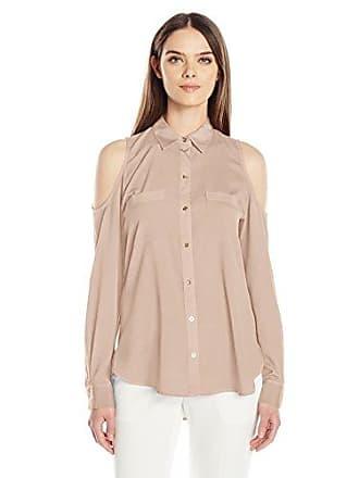 Calvin Klein Womens Long Sleeve Cold Shoulder Button Down Top, Blush, L
