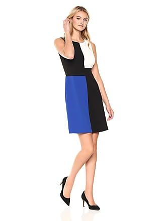4a8c276b021c0b Tommy Hilfiger Womens Square Color Block Sleeveless Scuba Crepe Dress  Black/Ivory/Cobalt,
