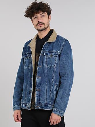 487019b79c C&A Jaqueta Jeans Masculina com Rasgos e Veludo Cotelê Azul Médio
