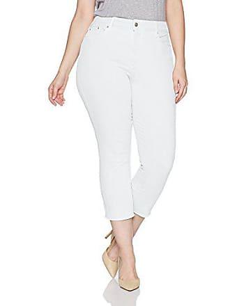 NYDJ Womens Size Plus Sheri Slim Ankle with Mini FRAY Hem, Optic White, 14W