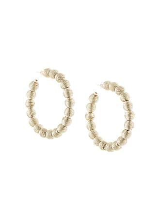 Kenneth Jay Lane thread ball hoop earrings - Cinza