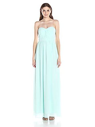 Minuet Womens Twist Ruched Bodice Long Gown, Mint, Medium