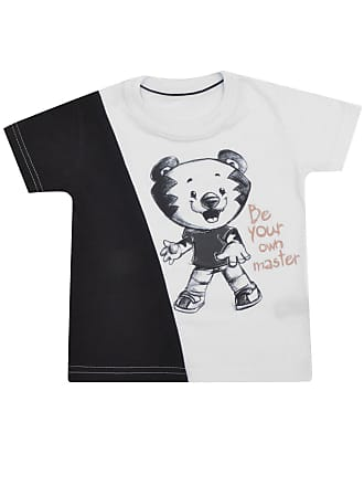 Tigor T. Tigre Camiseta Tigor T. Tigre Manga Curta Bebê Menino Branca/Preta