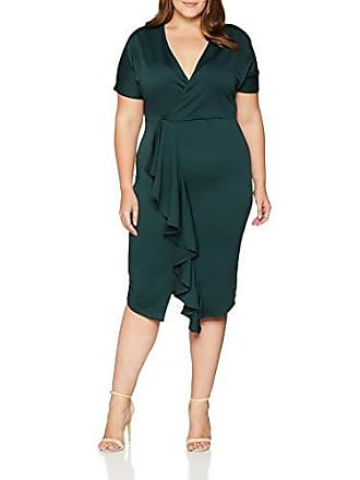 1e7437297ebe7 Lost Ink. Bodycon Dress with Frill, Robe Femme, Green, 44