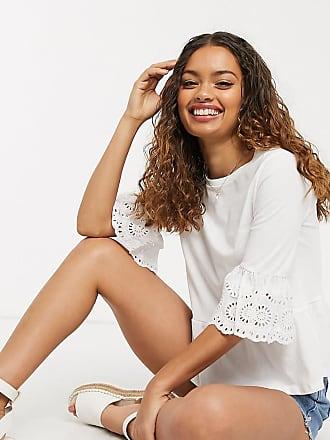 New Look Petite T-shirt peplo con pizzo sulle maniche bianca-Bianco