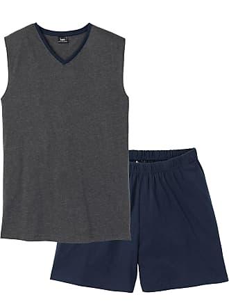 Bonprix Herr Pyjamas med shorts i grå utan ärm - bpc collection 925db13db727e