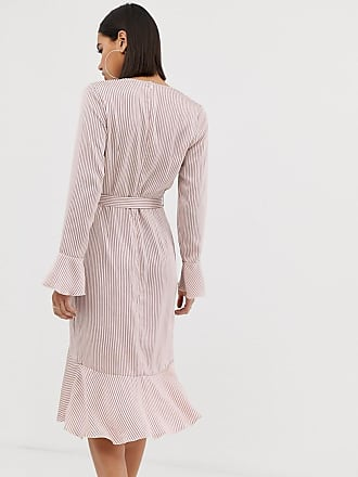 07f597d7fd Missguided wrap front dress with frill in pink stripe - Multi