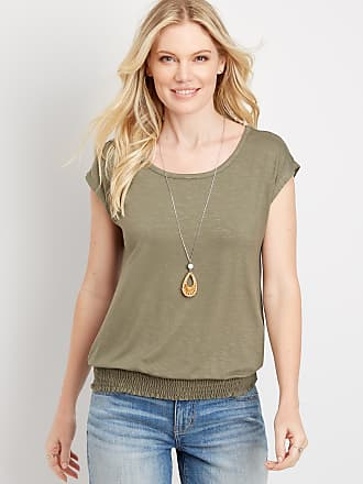 maurices Womens 24//7 Solid Double Flutter Short Sleeve Strappy Neck Tee