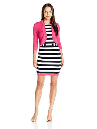 0bcdfcc63268 Jessica Howard Womens Petite Shift Dress with Matching Sweater, Navy/Pink  10P