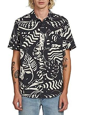 Volcom Mens Scrap Floral Button Up Short Sleeve Shirt, Asphalt Black, Medium
