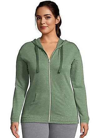 Hanes Womens French Terry Full Zip Hoodie Nature Green Heather 2XL