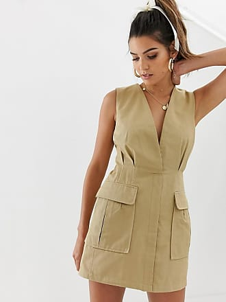 Skylar Rose utility mini dress with plunge front - Beige