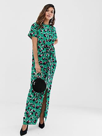 4424cfa448 Liquorish thigh split maxi dress in green leopard