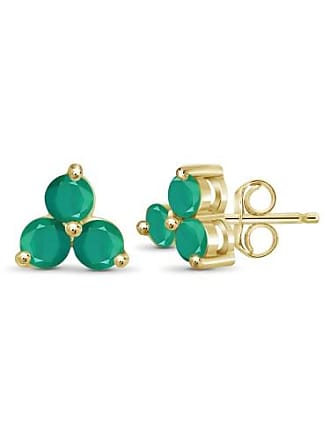JewelersClub JewelersClub 1 1/2 Carat T.G.W. Emerald 14kt Gold Over Silver Stud Earrings