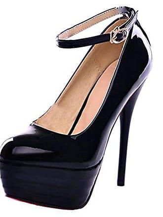 98afa974bffe23 Aiyoumei Lack Pumps Damen Knöchelriemchen Pumps mit Schnalle Stiletto High  Heel Plateau Extrem High Heels Hochzeit